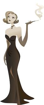 Diva retrò in un elegante abito nero.