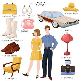 Moda retrò e mobili progettati negli anni '60, uomo e donna isolati che indossano abiti degli anni '60. macchina e telefono, macchina fotografica e lampada, cappello e borsetta. orecchini e cappuccio alla moda. vettore in stile piatto