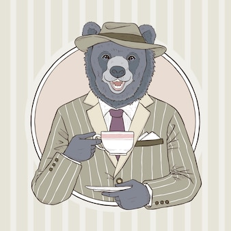 Illustrazione di tiraggio della mano di moda retrò di orso