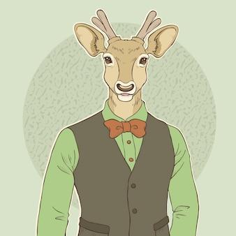 Illustrazione di tiraggio della mano di moda retrò di cervi
