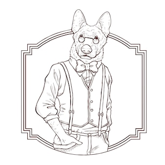 Illustrazione di tiraggio della mano di moda retrò del cane, le in bianco e nero