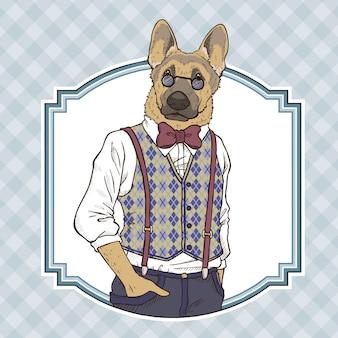 Illustrazione di tiraggio della mano di moda retrò del cane