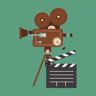 Proiettore di film retrò e immagine di icone relative al cinema