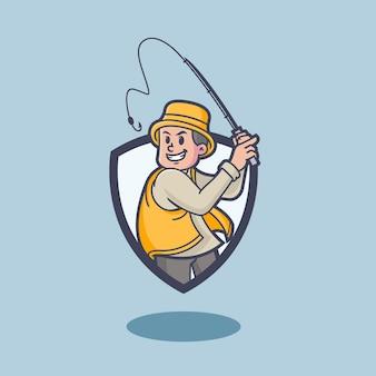 Logo della mascotte del pescatore retrò