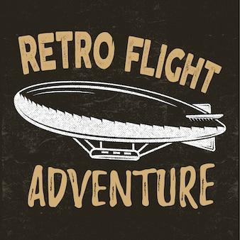 Concetto di volo retrò. maglietta per dirigibile. illustrazione di viaggio dirigibile