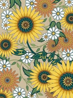Pagina da colorare floreale retrò in linea squisita