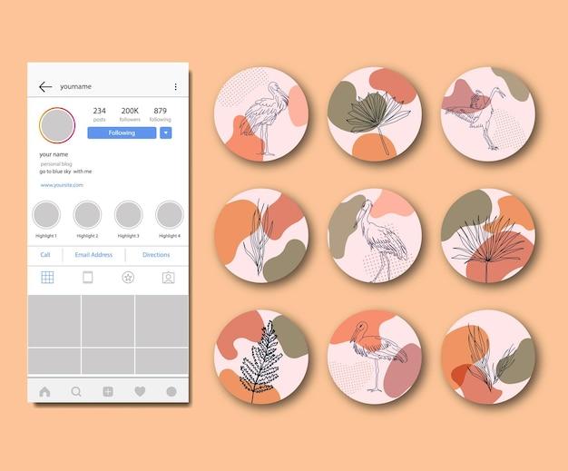 Fiore retrò raccolta di punti salienti di instagram disegnati a mano astratti