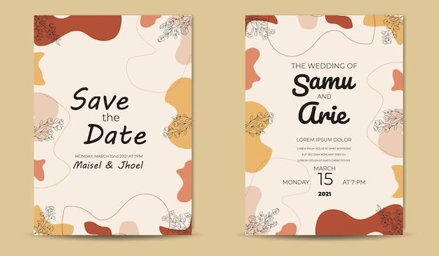 Modello di invito a nozze fiore retrò metà secolo