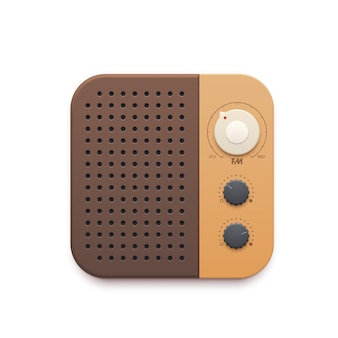 Icona dell'app di musica radio fm retrò, pulsante della vecchia stazione radio e altoparlante. sintonizzatore radio fm vintage