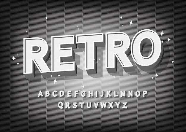 Effetto font retrò. alfabeto in stile vecchio cinema