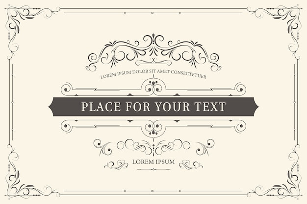 Cornice retrò per inviti di nozze o altri design e luogo per il testo