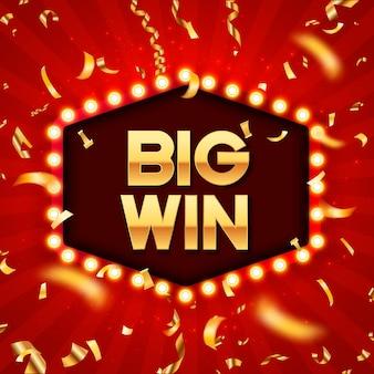Cornice retrò con lampade incandescenti. etichetta per i vincitori di poker, carte, roulette e lotteria.