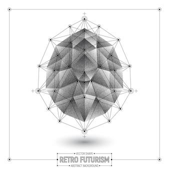 Retro forma astratta di vettore poligonale 3d di futurismo