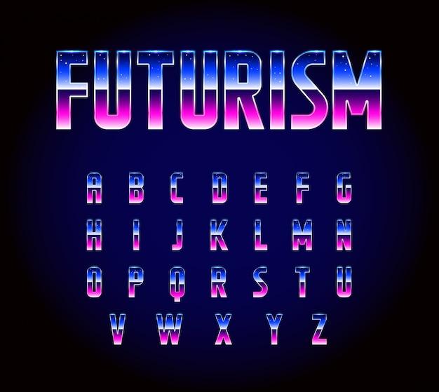 Alfabeto di carattere fantascientifico retrò futurista