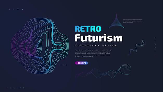 Sfondo futuristico retrò con forme ondulate colorate astratte. illustrazione vettoriale di fantascienza, può essere utilizzata per banner, pagina di destinazione, copertina, presentazione e altro