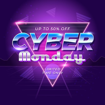 Cyber lunedì futuristico retrò