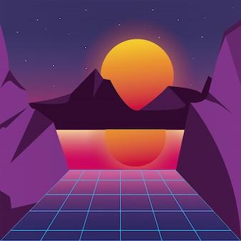 Retro priorità bassa futuristica del paesaggio del tramonto con il sole e le montagne