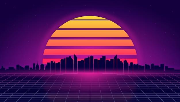 Paesaggio urbano notturno futuristico retrò illustrazione in stile retròwave e synthwave dello skyline notturno della città