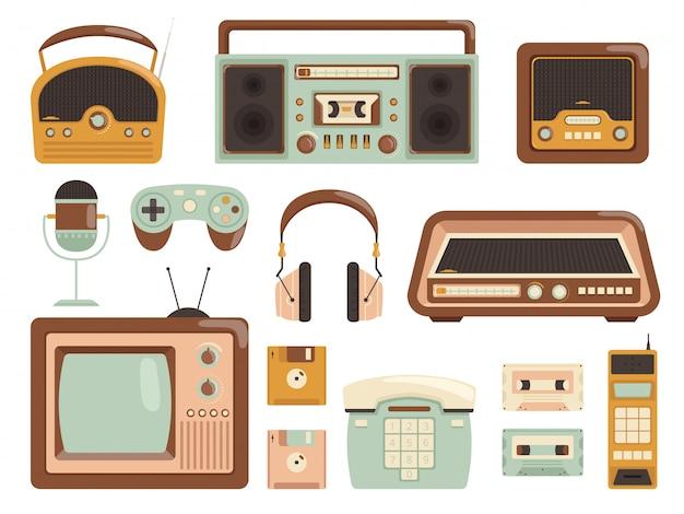 Gadget retrò. immagini elettroniche del telefono cellulare della radio del lettore di cassette audio degli anni 80 del registratore di cassetta