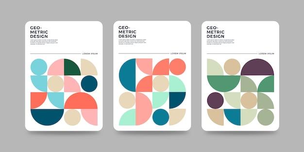 Modello di copertina geometrica retrò con design bauhaus
