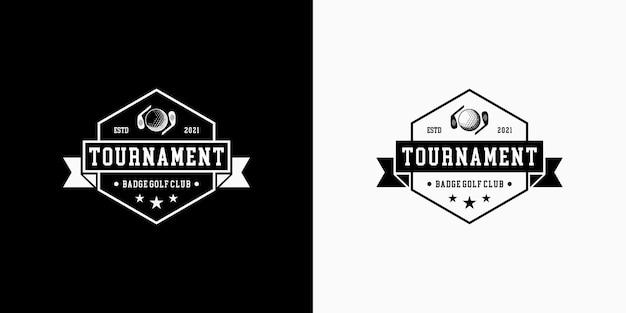 Torneo di badge con logo design retrò da golf