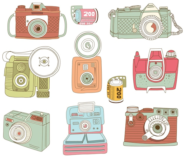 Elementi di design fotocamera retrò disegnati a mano