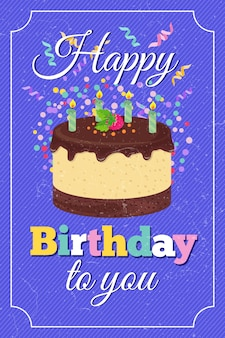 Retro cartolina d'auguri di vettore del partito di buon compleanno con il dolce del fumetto e le candele bruciate