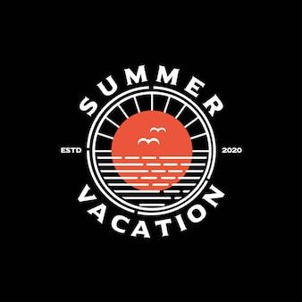 Timbro retrò hipster per il design del logo beach surf