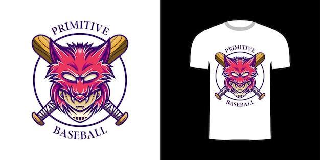 Illustrazione retrò baseball primitivo