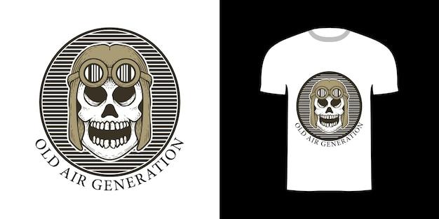 Teschio di illustrazione retrò per il design della maglietta