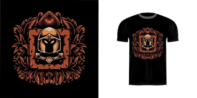 Guerriero illustrazione retrò con ornamento wngraving per il design della maglietta