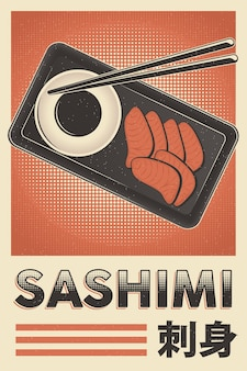 Poster di sashimi di cibo giapponese retrò