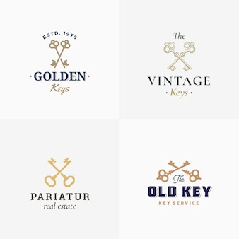 Segni astratti di chiavi retrò o modelli logo set con chiavi incrociate differenti sillhouettes e tipografia di classe.