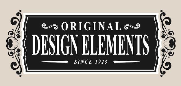 Etichetta retrò con illustrazione vettoriale di elementi vintage
