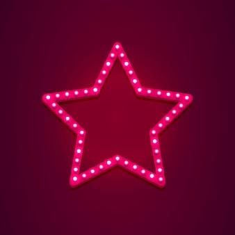 Segno di luce retrò stella più bella ora. bandiera in stile vintage. illustrazione vettoriale.