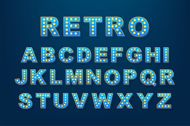 Testo leggero retrò, ottimo per qualsiasi scopo. alfabeto lampadina retrò. illustrazione di riserva.