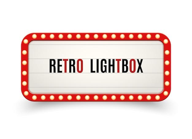 Cornice d'epoca tabellone per le affissioni retro lightbox. scatola luminosa per striscioni vintage. pubblicità della decorazione dell'insegna del cinema o dello spettacolo.