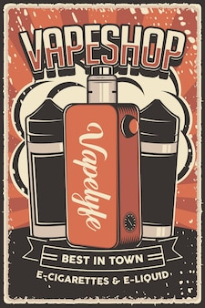 Poster retro liquid e vape mod poster sign