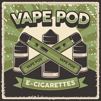 Poster retro liquid and vape pod mod poster sign