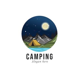 Campeggio e avventura all'aperto con logo retrò.