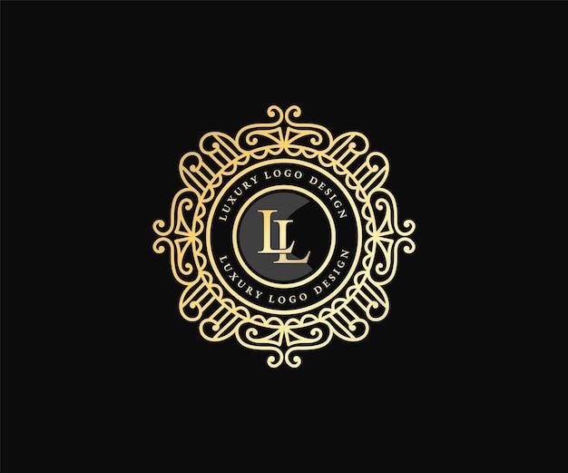 Modello di logo araldico con emblema calligrafico vittoriano di lusso retrò con cornice ornamentale decorativa