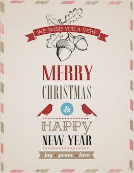 Retro busta di buon natale e felice anno nuovo con ghiande e pettirossi.