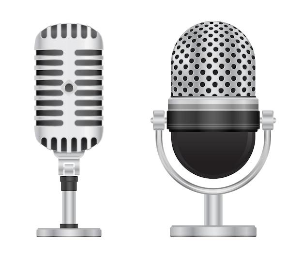 Icona 3d microfono retrò isolato su priorità bassa bianca