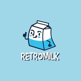Illustrazione sveglia dell'icona di logo del fumetto del latte retrò