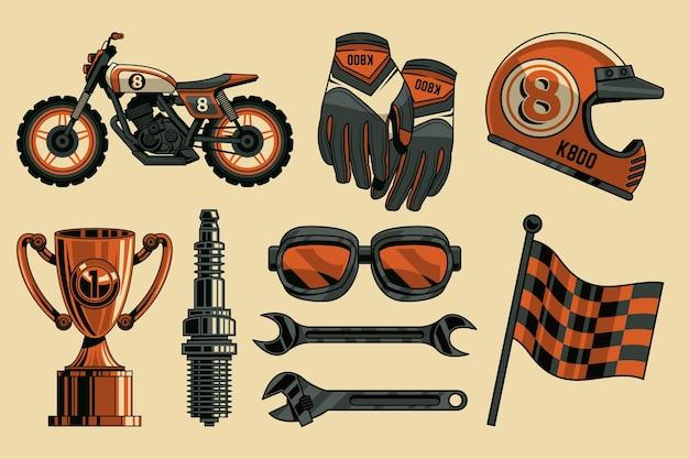 Collezione di elementi motocross retrò