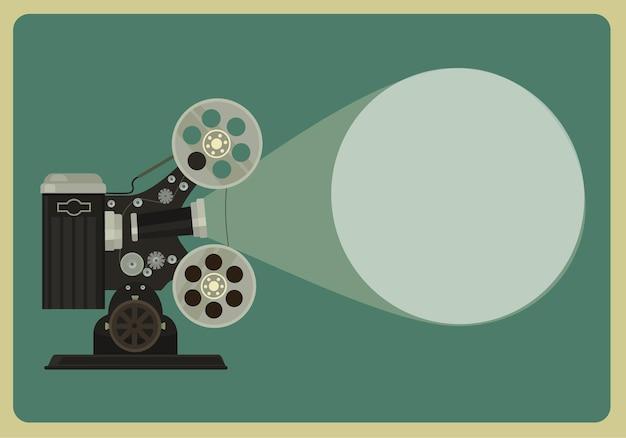 Illustrazione piana del proiettore di film retrò