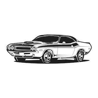 Muscle car retrò in bianco e nero