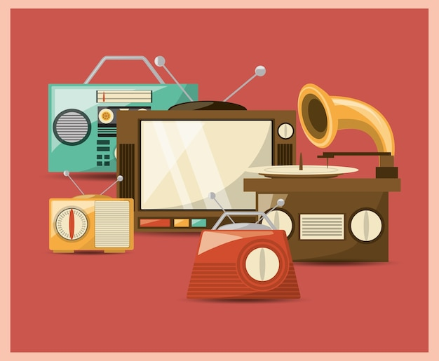 Dispositivi musicali retrò e televisione su sfondo rosso