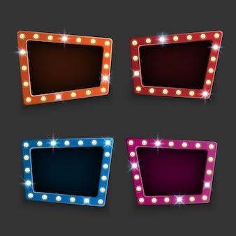 Retro tabellone per le affissioni al neon sullo sfondo scuro