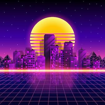 Sfondo di città al neon retrò. stile neon anni '80. illustrazione vettoriale